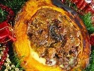 Рецепта Пълнена коледна тиква със свинско и телешко на фурна (тип кавърма)